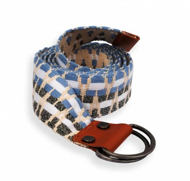 AMUNDSEN SPORTS AMUNDSEN WOVEN BELT IN BAG NATURAL/AZURE BLUE